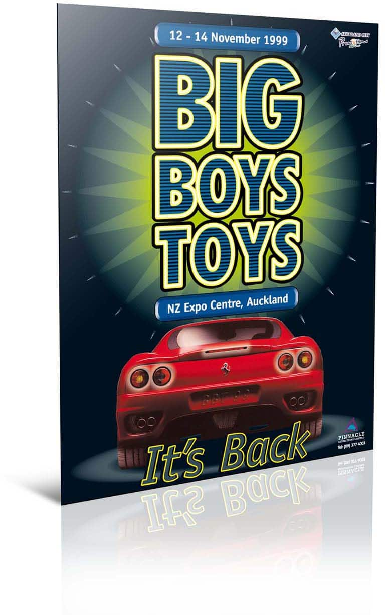 Big Boys Toys Auckland promotional poster