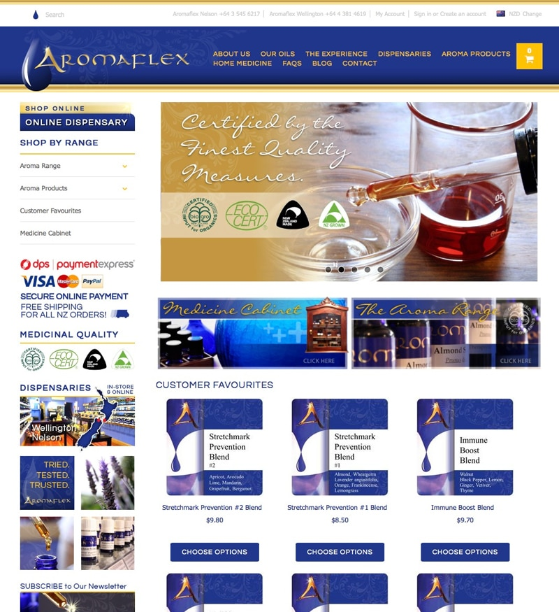 Aromaflex Nelson ecommerce home page