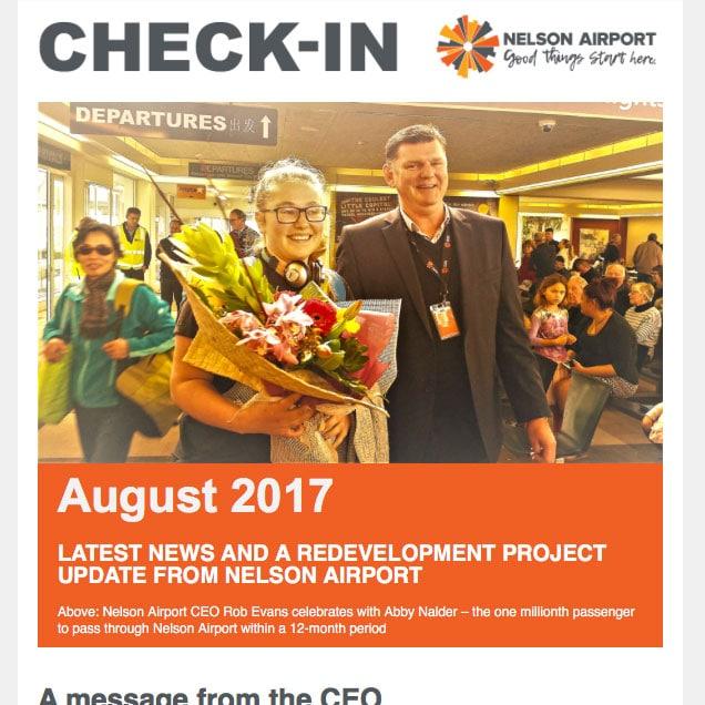 Nelson airport newsletter design