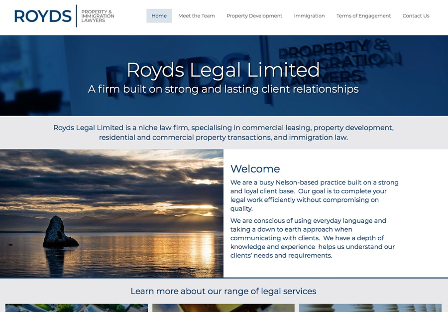 Royds Legal Nelson offices website design