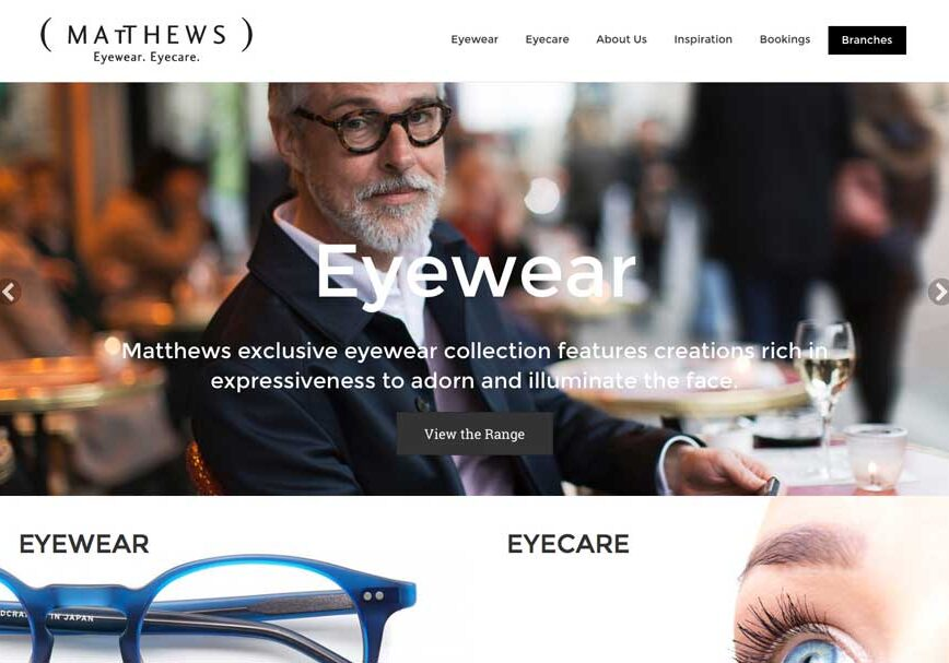Matthews eyewear website home page layout