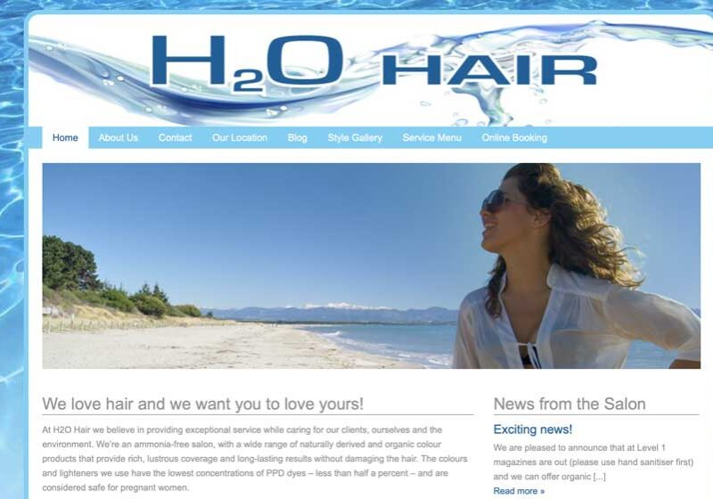 H2O hair nelson website design