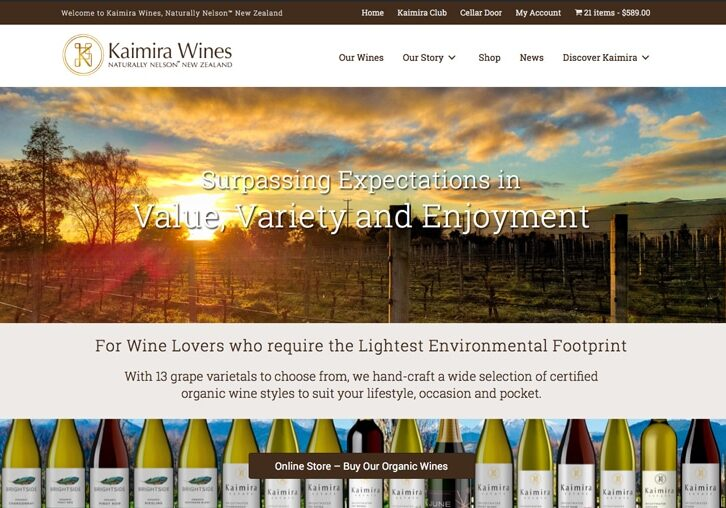 Kaimira Wines Nelson website e-commerce sample