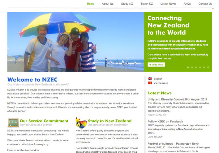 English language NZ website sample