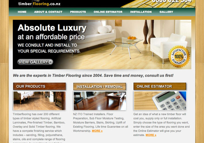NZ Timber Flooring website design example