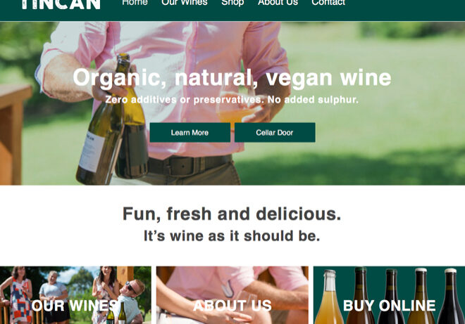 tincan Wine Mapua ecommerce website