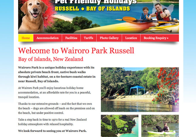 Wairoro Park Northland wordpress website