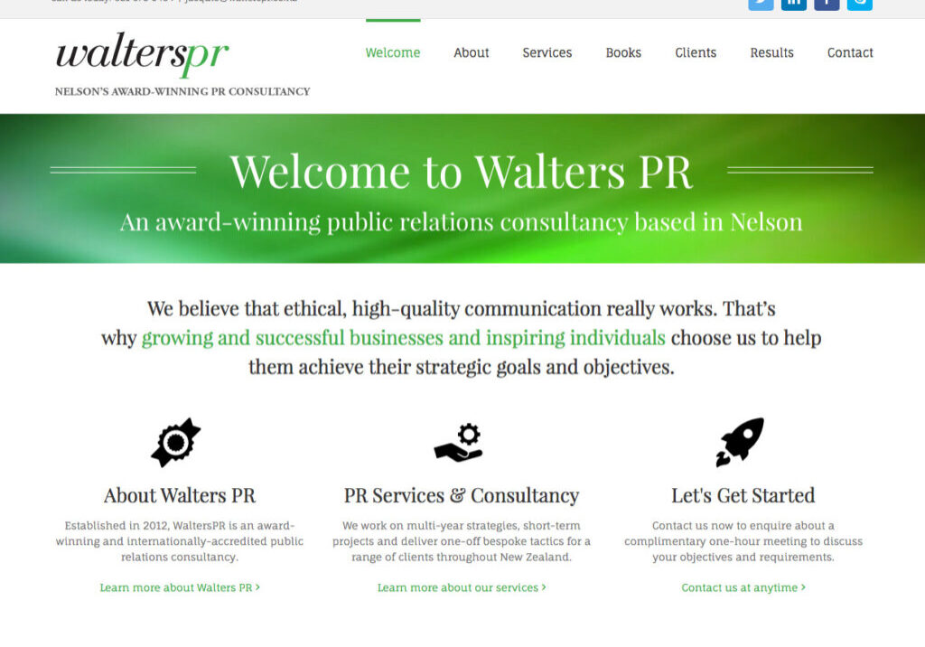 Walters PR nelson wordpress website design